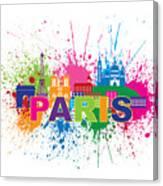 Paris Skyline Paint Splatter Text Illustration Canvas Print
