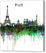 Paris Skyline Watercolor Canvas Print