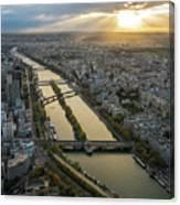 Paris Sunrays Dusk Along The Seine Canvas Print