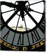 Paris Through The Clock Canvas Print