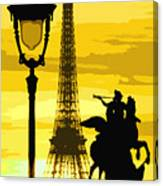 Paris Tour Eiffel Yellow Canvas Print