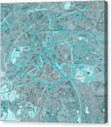 Paris Traffic Abstract Blue Map Canvas Print