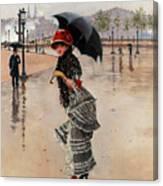 Parisienne On A Rainy Day Canvas Print
