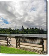Park Bench Along Capitol Lake In Olympia Washington Canvas Print