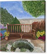 Park Bench In A Garden Canvas Print