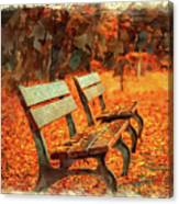 Park Bench In Fall Canvas Print