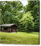 Park Shelter In Lush Forest Landscape Canvas Print