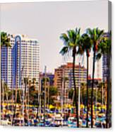 Parking And Palms In Long Beach Canvas Print