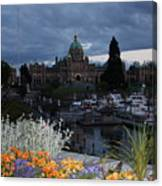 Parliament Building In Victoria At Dusk Canvas Print