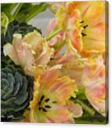Parrot Tulips And Desert Succulents Canvas Print