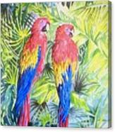 Parrots In Jungle Canvas Print