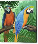 Parrots In Light And Shade Canvas Print
