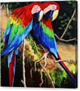 Parrots In The Jungle Canvas Print