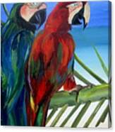 Parrots On The Beach Canvas Print