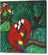 Parrots Preening Canvas Print