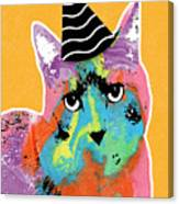 Party Cat- Art By Linda Woods Canvas Print