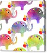 Party Parade - Elephant Children Pattern Canvas Print