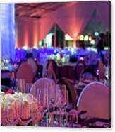 Party Setting With Colorful Bokeh Background Canvas Print