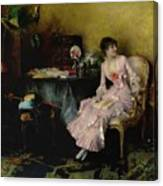 Pascal Adolphe Jean Dagnan-bouveret 1852 - 1929   Woman In Pink With Child Canvas Print