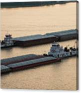 Passing Barges Canvas Print