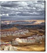 Passing Thunderstorms And Sun Breaks Highlight The Banded Hills Of Arizona's  Ha Ho No Geh Canyon. Canvas Print
