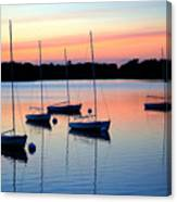 Pastel Lake And Boats Simphony Canvas Print