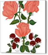 Pastel Peach Roses and Yummy Mums Canvas Print