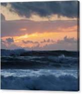 Pastel Sunset Over Stormy Waves Canvas Print