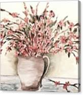 Pastels In Clay Pot Canvas Print