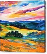 Pastoral Poppies On Yokohl Valley Canvas Print