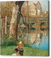 Pastoral Scene On The Bank Of The Loing Canvas Print