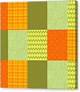 Patchwork Patterns - Orange And Olive Canvas Print