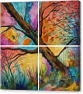Patchwork Sky Tree Painting With Colorful Sky Canvas Print