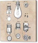 patent art Edison 1890 Lamp base Canvas Print