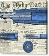Patent, Old Pen Patent,blue Art Drawing On Vintage Newspaper Canvas Print