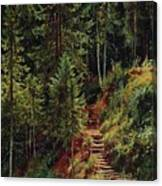 path in the woods 55h34 Ivan Ivanovich Shishkin Canvas Print