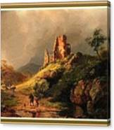 Path Next To The Ruins Of Belloque Castle L B With Decorative Ornate Printed Frame. Canvas Print