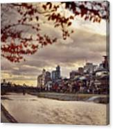 Pathway Along Kamo River In A Beautiful Dramatic Autumn Sunset S Canvas Print
