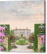 Pathway Leading To A Mansion Through Beautiful Gardens Canvas Print