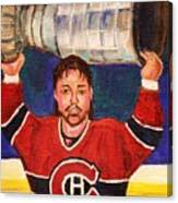 Patrick Roy Wins The Stanley Cup Canvas Print