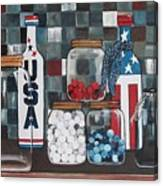 Patriotic Bottles And Jars Canvas Print