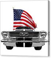 Patriotic Mustang On White Canvas Print