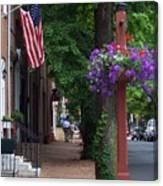 Patriotic Street In Philadelphia Canvas Print