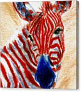 Patriotic Zebra Aceo Canvas Print