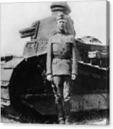 Patton Beside A Renault Tank - Wwi Canvas Print