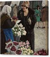 Paul Fischer, 1860-1934, Flower Market In Copenhagen Canvas Print