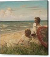 Paul Fischer, 1860-1934, Girls On The Beach Canvas Print