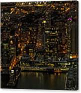 Paulus Hook, Jersey City Aerial Night View Canvas Print
