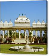 Pavilion And Fountain, Udaipur, India Canvas Print
