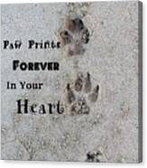 Paw Prints Forever In Your Heart Canvas Print